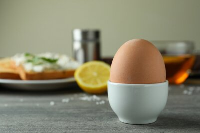 Plakat Concept of tasty breakfast with boiled egg, space for text