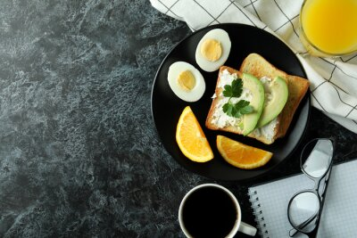 Plakat Concept of tasty breakfast with boiled eggs, space for text