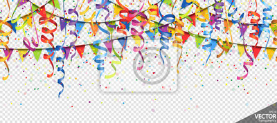 Plakat confetti, garlands and streamers party background