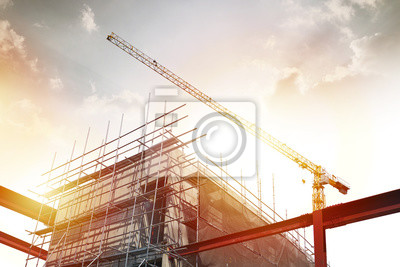 Plakat Construction and Building, power plant construction, Architectural landscape of  building in central town