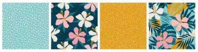 Plakat Contemporary floral and polka dot shapes collage seamless pattern set. Modern exotic design for paper, cover, fabric, interior decor and other users.