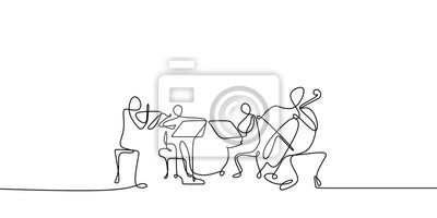 Plakat continuous line drawing of jazz classical music concert performance on the stage.