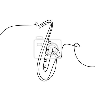 Plakat continuous line drawing of jazz music.
