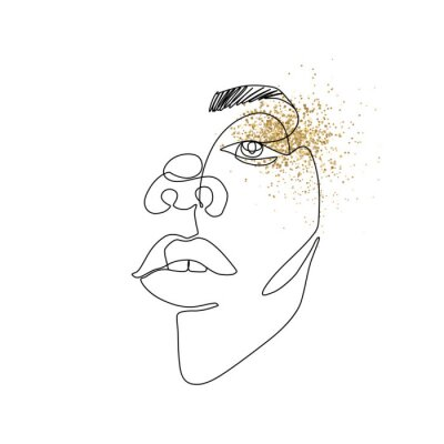 Plakat Continuous line vector drawing. Face silhouette. Abstract portrait.