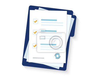 Plakat Contract papers. Document. Folder with stamp and text. Stack of agreements document with signature and approval stamp. Folder and stack of white papers