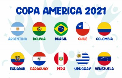 Plakat Copa America 2021 final stage team football tournament in South America. South American soccer tournament in Argentina and Colombia.