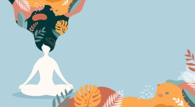 Plakat Coping with stress and anxiety with mindfulness, meditation and yoga. Vector background in pastel vintage colors with a woman sitting cross-legged and meditating. Vector illustration