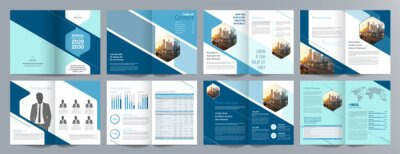 Plakat Corporate business presentation guide brochure template, Annual report, 16 page minimalist flat geometric business brochure design template, A4 size.