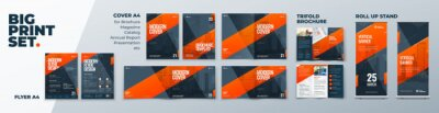 Plakat Corporate Identity Print Template Set of Brochure cover, flyer, tri fold, report, catalog, roll up banner. Branding design. Business stationery background design collection.