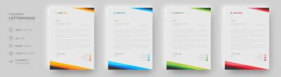 Plakat corporate modern letterhead design template with yellow, blue, green and red color. creative modern letter head design template for your project. letterhead, letter head, simple letterhead design.