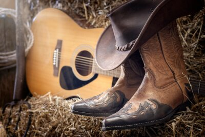 Plakat Country music festival live concert or rodeo with cowboy hat guitar and boots in barn