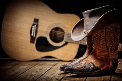 Plakat Country music festival live concert with acoustic guitar, cowboy hat and boots
