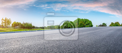 Plakat Country road and green woods nature landscape in summer