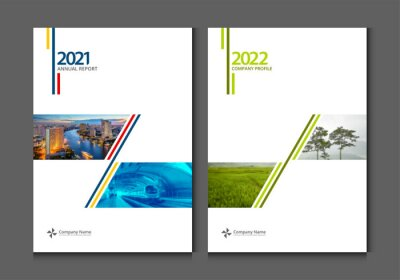 Plakat Cover design annual report business catalog company profile brochure magazine flyer booklet poster banner. A4 template design element cover vector.