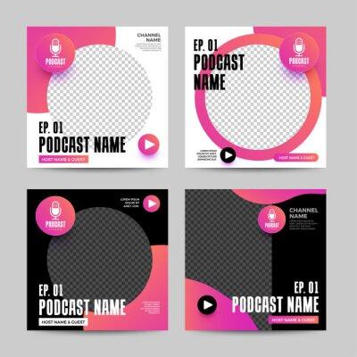 Plakat Cover design template podcast channel. Banner design for website and social post or streaming platform.Vector illustrate.