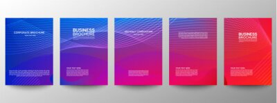 Plakat Cover geometric minimal. Set. Vector abstract line pattern for poster design. Set of templates for business brochures. Cool gradients. Graphic pattern for annual album backdrop.