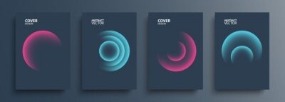 Plakat Cover templates set with vibrant gradient round shapes. Futuristic abstract backgrounds with glossy sphere for your creative graphic design. Vector illustration.