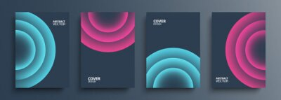 Plakat Cover templates set with vibrant gradient round shapes. Futuristic abstract backgrounds with glossy sphere for your graphic design. Vector illustration.