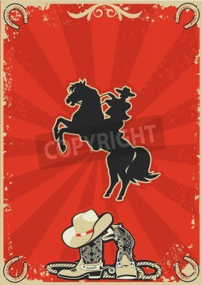 Plakat Cowboy on horse. red poster background for text