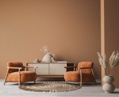 Plakat Cozy home interior with wooden furniture on brown background, empty wall mockup in boho decoration, 3d render
