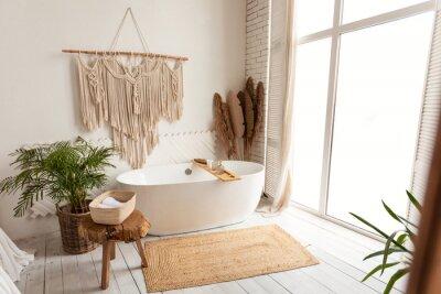 Plakat Cozy modern minimalistic bathroom interior with big white bathtube indoors
