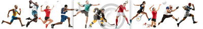 Plakat Creative collage of sportive models running and jumping. Advertising, sport, healthy lifestyle, motion, activity, movement concept. American football, soccer, tennis volleyball box badminton rugby