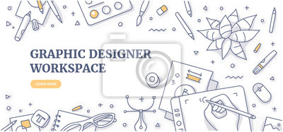 Plakat Creative designer desk with stationary objects pencils, markers and design symbols. Top view on graphic designer workspace. Flat lay. Doodle illustration for web banners or hero images