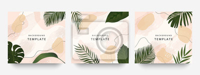 Plakat Creative hard paint cover design backgrounds vector. Minimal trendy style organic shapes pattern with copy space for text design for invitation, Party card,Social Highlight Covers and stories page