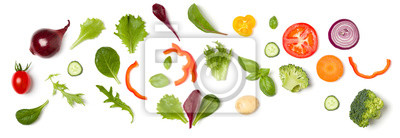 Plakat Creative layout made of tomato slice, onion, cucumber, basil leaves. Flat lay, top view. Food concept. Vegetables isolated on white background. Food ingredient pattern.