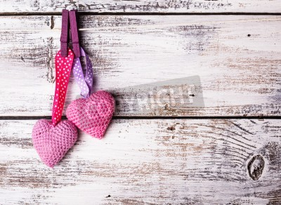 Plakat Crochet valentine hearts handing on the rope. Valentine's day greeting card. Love concept