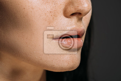 Plakat cropped view of girl with freckles on face isolated on grey