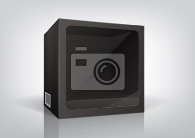 Cube-shaped czarny opakowanie z przezroczystym okienkiem plastikowym