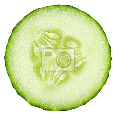 Plakat cucumber slice isolated on white background, clipping path, full depth of field