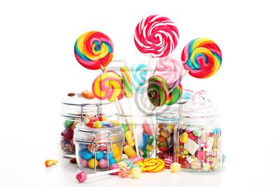 Plakat cukierki z galaretką i cukrem. kolorowy wachlarz słodyczy i przekąsek dla dzieci.