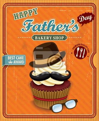 Plakat Cupcake plakat dzień ojca projekt Vintage
