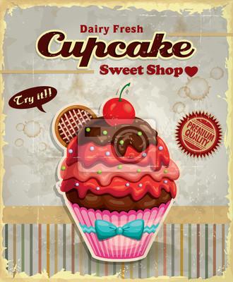 Plakat Cupcake plakat projekt Vintage