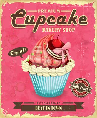 Cupcake plakat projekt Vintage