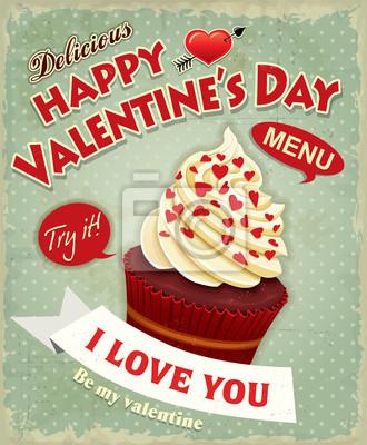 Cupcake rocznika plakat projekt Valentine