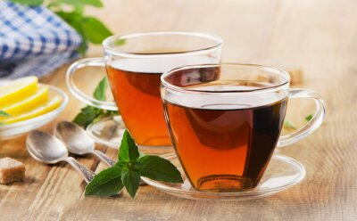 Plakat Cups of tea with mint leaves.