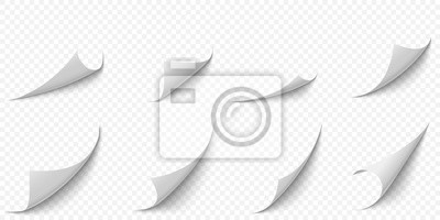 Plakat Curled paper corners. Curve page corner, pages edge curl and bent papers sheet with realistic shadow. Writing blank paper, a4 pages corners. Isolated 3d vector illustration icons set