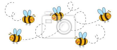 Plakat Cut set of cartoon bees hand drawn childish. Vector illustration.