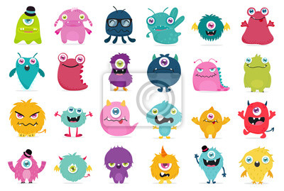 Plakat Cute and Kawaii monster kids icon set.
