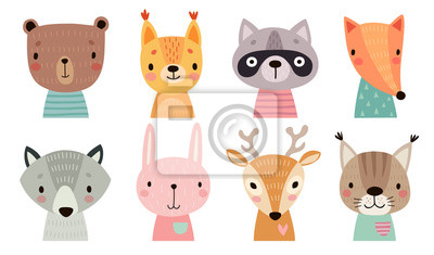 Plakat Cute animal faces. Hand drawn characters.