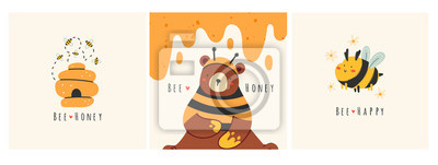 Plakat Cute bee, tasty healthy honey, hive, bear. Set of three cards. Hand drawn colored trendy vector illustrations. Cartoon style. Flat design. Every illustration is isolated