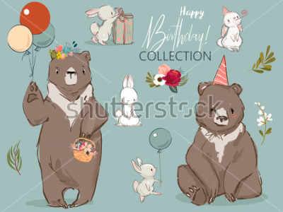 Plakat cute birthday hares and bear collection