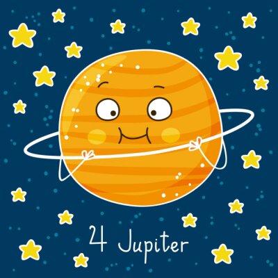 Plakat Cute cartoon Jowisza na tle miejsca