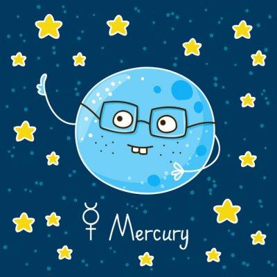 Plakat Cute cartoon Merkurego na tle miejsca