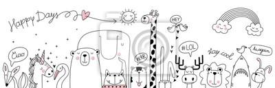Plakat cute cartoon sketch animals
