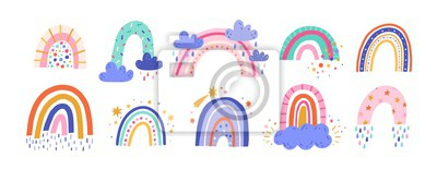 Plakat Cute colorful rainbows set. Childish flat vector illustrations collection. Weather forecast, meteorology. Rainy clouds and stars isolated on white background. T shirt print design element.