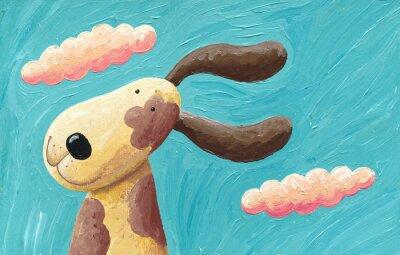 Plakat Cute dog na wietrze